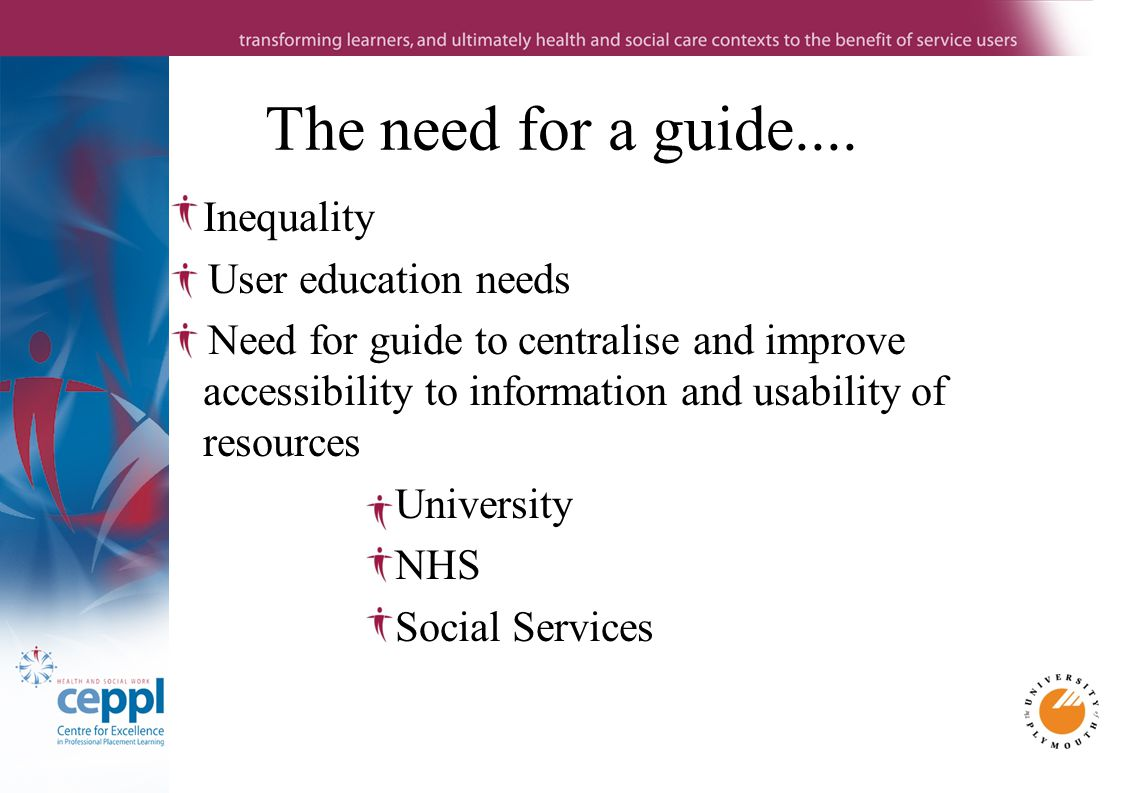Inequality User education needs Need for guide to centralise and improve accessibility to information and usability of resources University NHS Social Services The need for a guide....