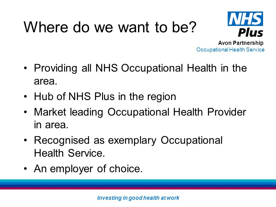 Avon Partnership Occupational Health Service Investing in good health at work Where do we want to be.