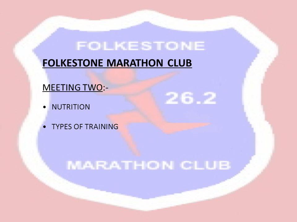 FOLKESTONE MARATHON CLUB MEETING TWO:- NUTRITION TYPES OF TRAINING