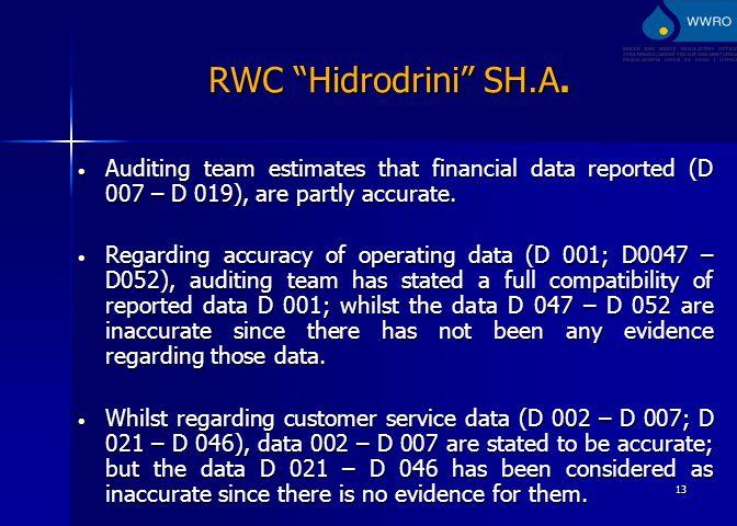 13 RWC Hidrodrini SH.A.
