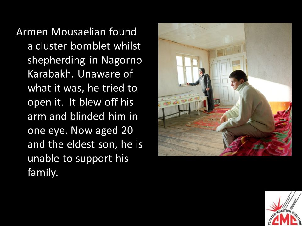 Armen Mousaelian found a cluster bomblet whilst shepherding in Nagorno Karabakh. Unaware of what it was, he tried to open it. It blew off his arm and
