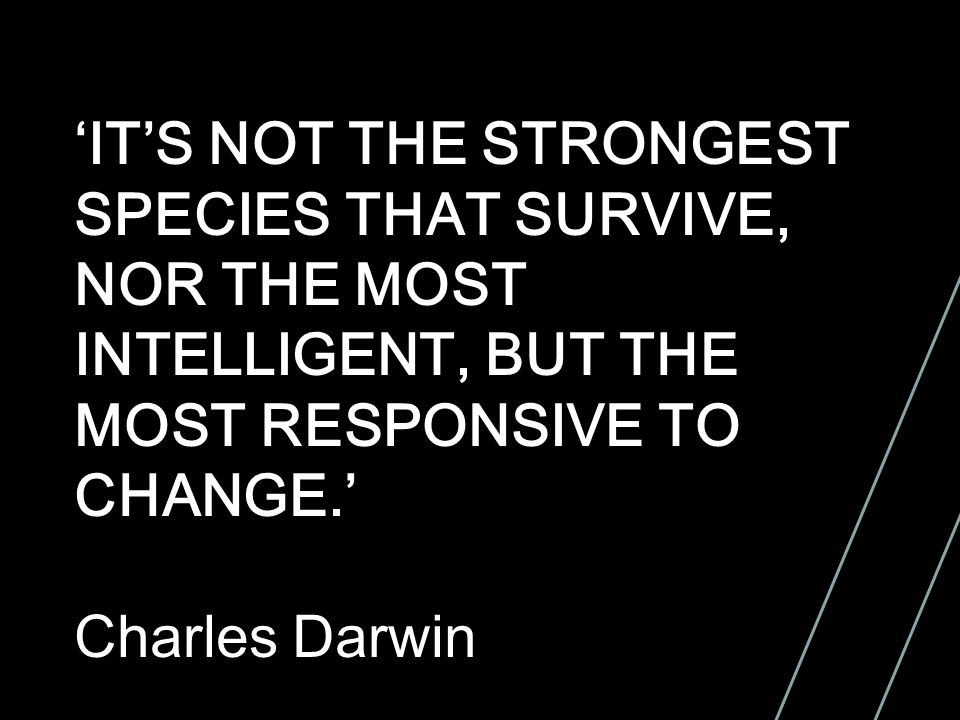 'IT'S NOT THE STRONGEST SPECIES THAT SURVIVE, NOR THE MOST INTELLIGENT, BUT THE MOST RESPONSIVE TO CHANGE.' Charles Darwin
