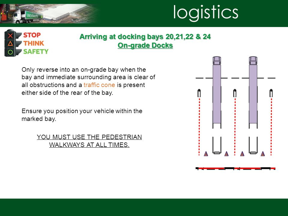 Arriving at docking bays 20,21,22 & 24 On-grade Docks Only reverse into an on-grade bay when the bay and immediate surrounding area is clear of all obstructions and a traffic cone is present either side of the rear of the bay.