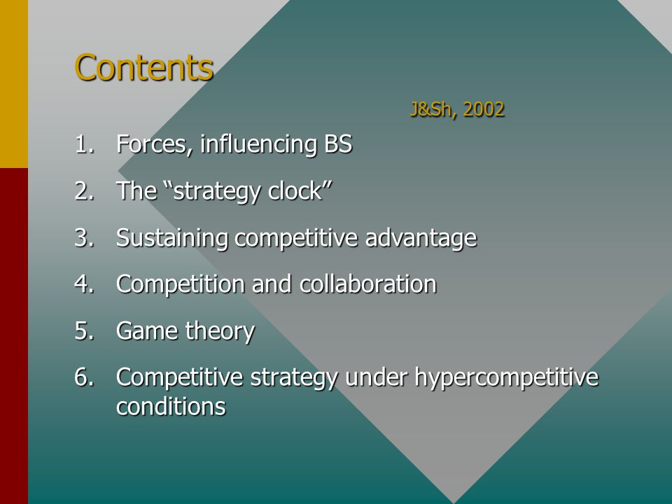 Contents J&Sh, 2002 1.Forces, influencing BS 2.The strategy clock 3.Sustaining competitive advantage 4.Competition and collaboration 5.Game theory 6.Competitive strategy under hypercompetitive conditions