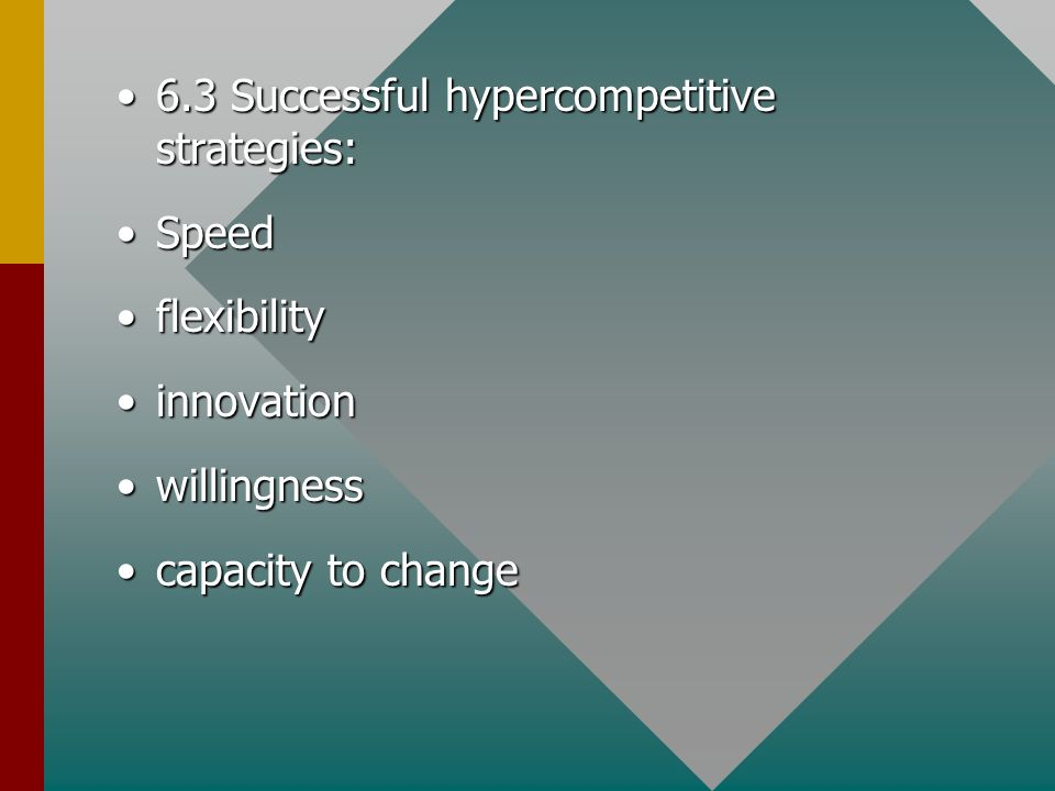 6.3 Successful hypercompetitive strategies:6.3 Successful hypercompetitive strategies: SpeedSpeed flexibilityflexibility innovationinnovation willingnesswillingness capacity to changecapacity to change