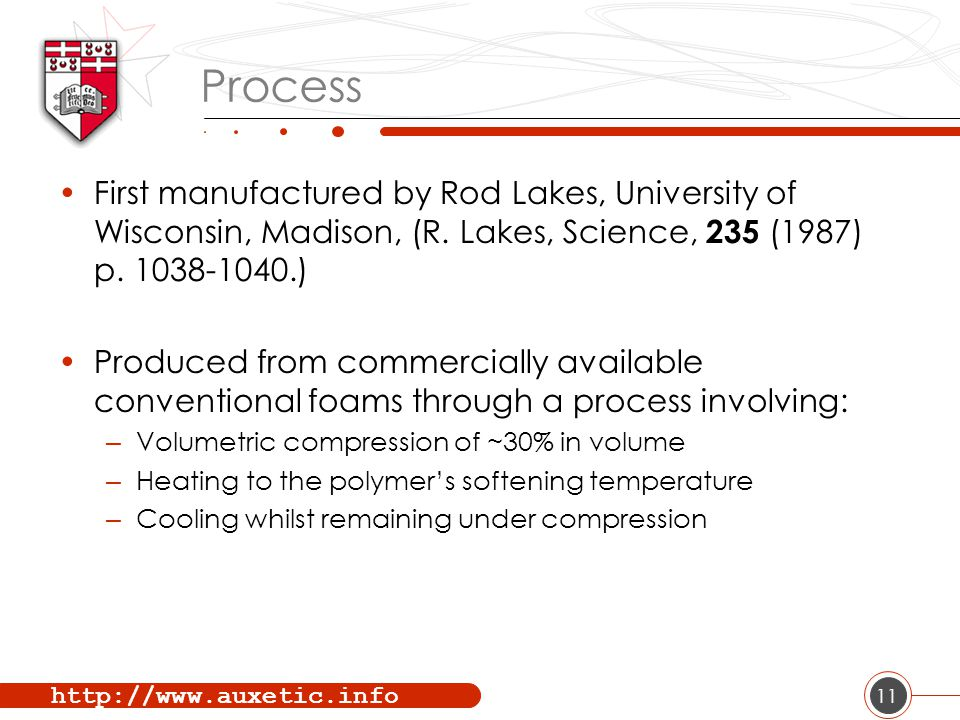 http://www.auxetic.info 11 Process First manufactured by Rod Lakes, University of Wisconsin, Madison, (R.