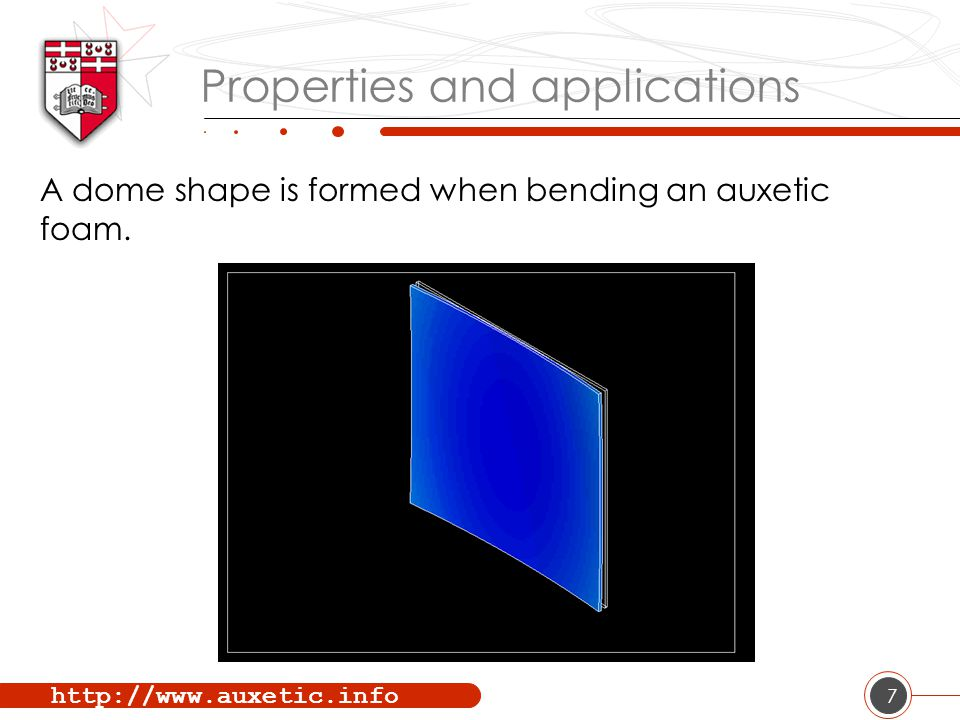 http://www.auxetic.info 7 Properties and applications A dome shape is formed when bending an auxetic foam.