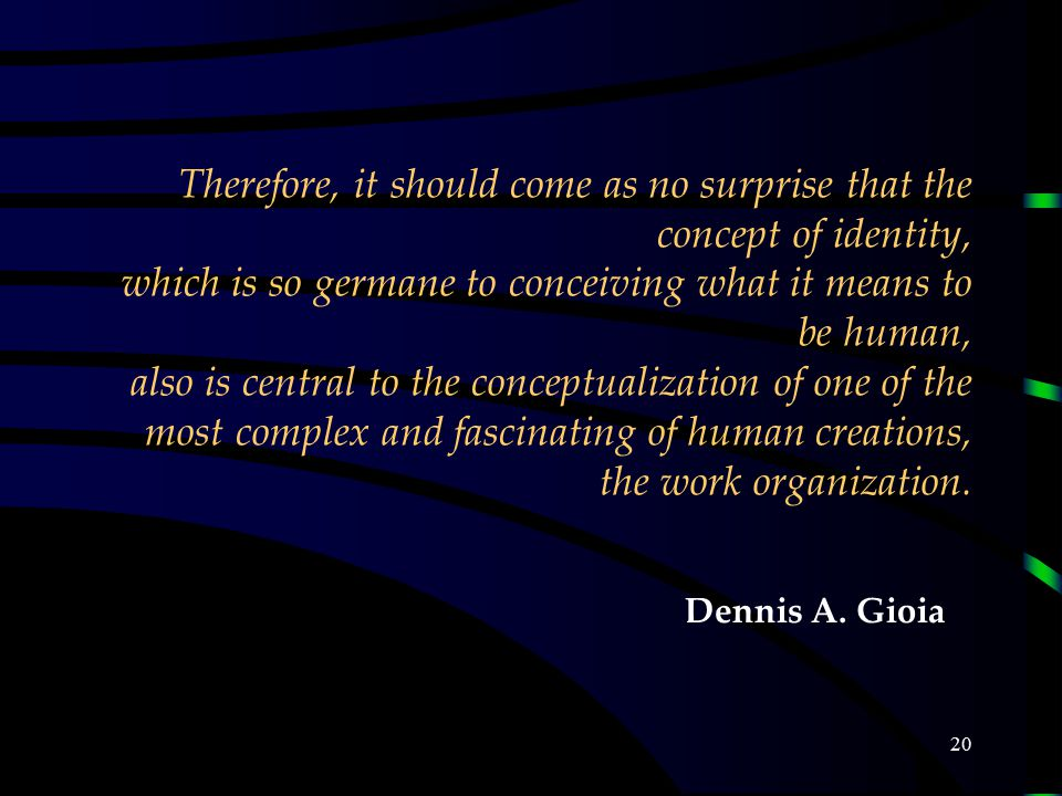 20 Therefore, it should come as no surprise that the concept of identity, which is so germane to conceiving what it means to be human, also is central to the conceptualization of one of the most complex and fascinating of human creations, the work organization.