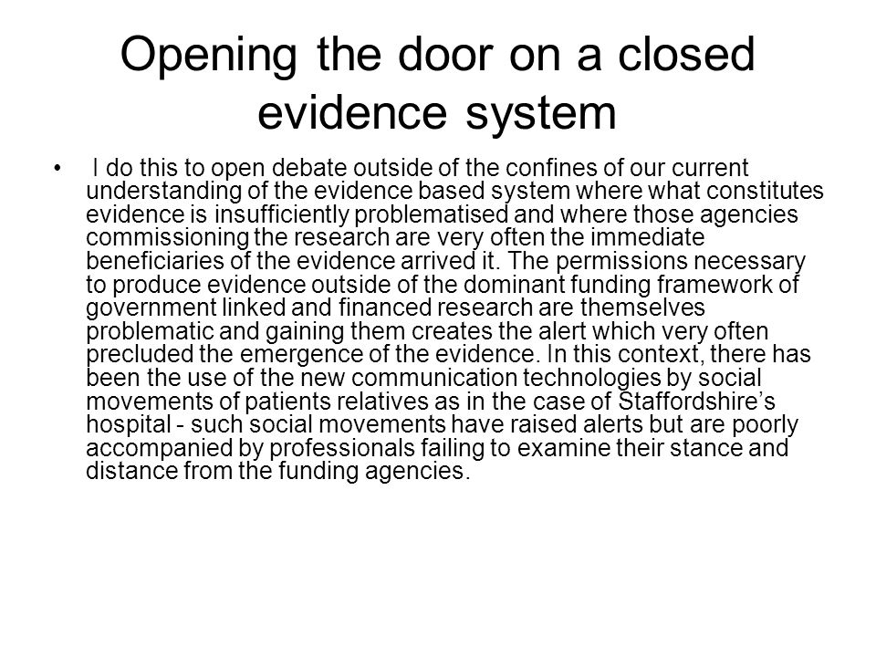 Fragmentation of care Let me leave this discussion with the understanding communicated to me by expert medical practitioners in one of the country's leading specialist hospitals – the health transport systems do not fit well with the culture they would prefer to exist around their patients and their treatment but they are powerless to make the changes even within their own environment.