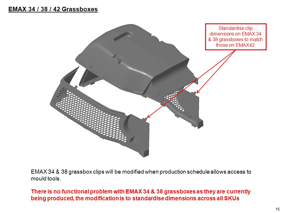 Standardise clip dimensions on EMAX 34 & 38 grassboxes to match those on EMAX42 EMAX 34 / 38 / 42 Grassboxes EMAX 34 & 38 grassbox clips will be modified when production schedule allows access to mould tools.