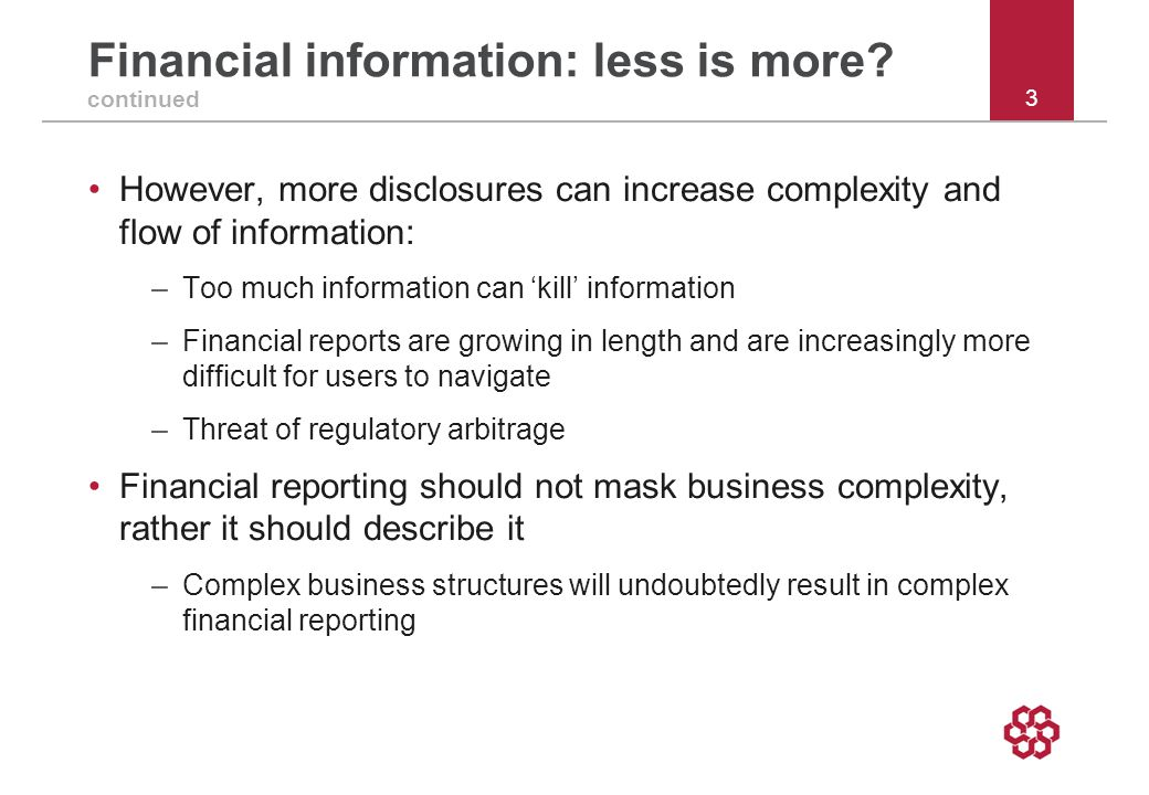 Financial information: less is more.