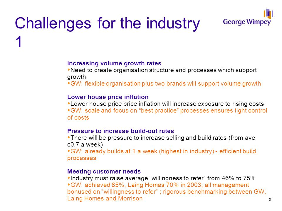 Challenges for the industry 1 Increasing volume growth rates  Need to create organisation structure and processes which support growth  GW: flexible organisation plus two brands will support volume growth Lower house price inflation  Lower house price price inflation will increase exposure to rising costs  GW: scale and focus on best practice processes ensures tight control of costs Pressure to increase build-out rates  There will be pressure to increase selling and build rates (from ave c0.7 a week)  GW: already builds at 1 a week (highest in industry) - efficient build processes Meeting customer needs  Industry must raise average willingness to refer from 46% to 75%  GW: achieved 85%, Laing Homes 70% in 2003; all management bonused on willingness to refer ; rigorous benchmarking between GW, Laing Homes and Morrison 8