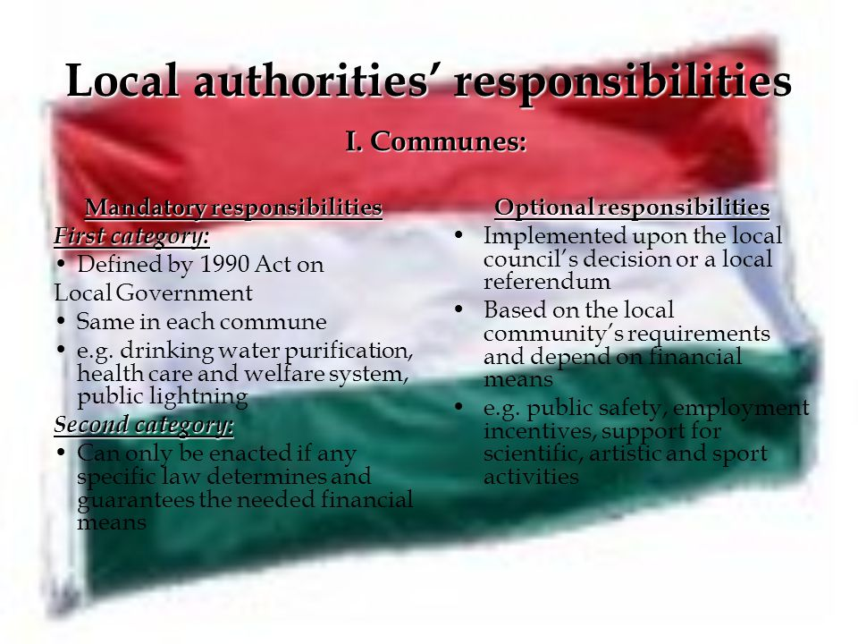Local authorities' responsibilities Mandatory responsibilities First category: Defined by 1990 Act on Local Government Same in each commune e.g.