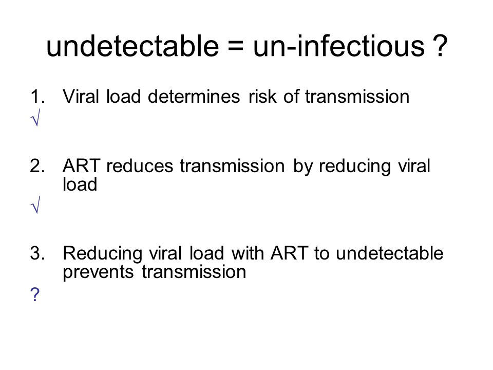 undetectable = un-infectious .