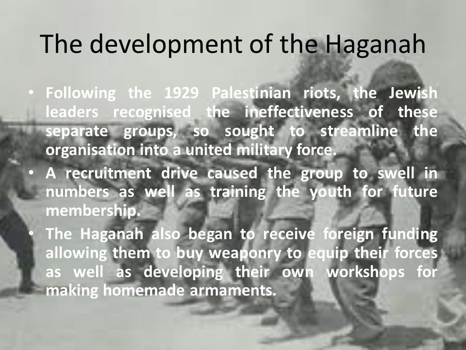 The Split In 1931, the Haganah divided along ideological lines.
