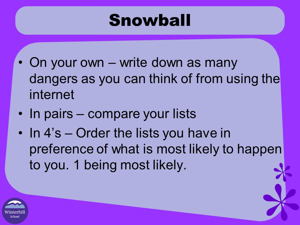 Snowball On your own – write down as many dangers as you can think of from using the internet In pairs – compare your lists In 4's – Order the lists you have in preference of what is most likely to happen to you.