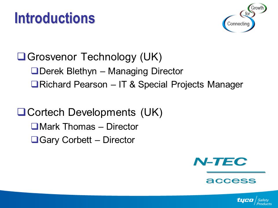 Introductions  Grosvenor Technology (UK)  Derek Blethyn – Managing Director  Richard Pearson – IT & Special Projects Manager  Cortech Developments
