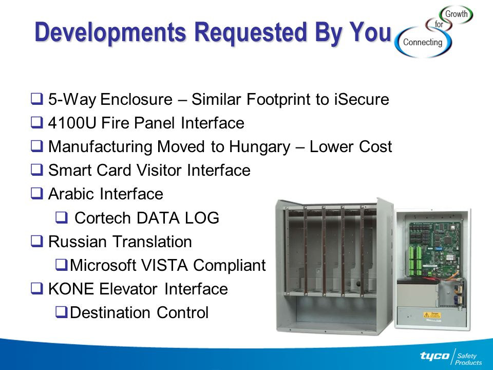 Developments Requested By You  5-Way Enclosure – Similar Footprint to iSecure  4100U Fire Panel Interface  Manufacturing Moved to Hungary – Lower C