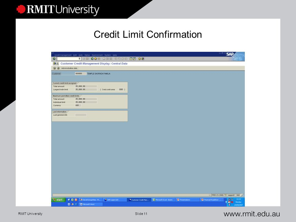 RMIT UniversitySlide 11 Credit Limit Confirmation