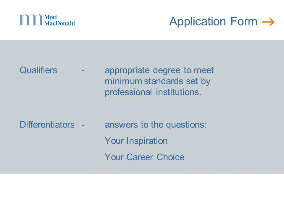  Application Form Differentiators-some examples