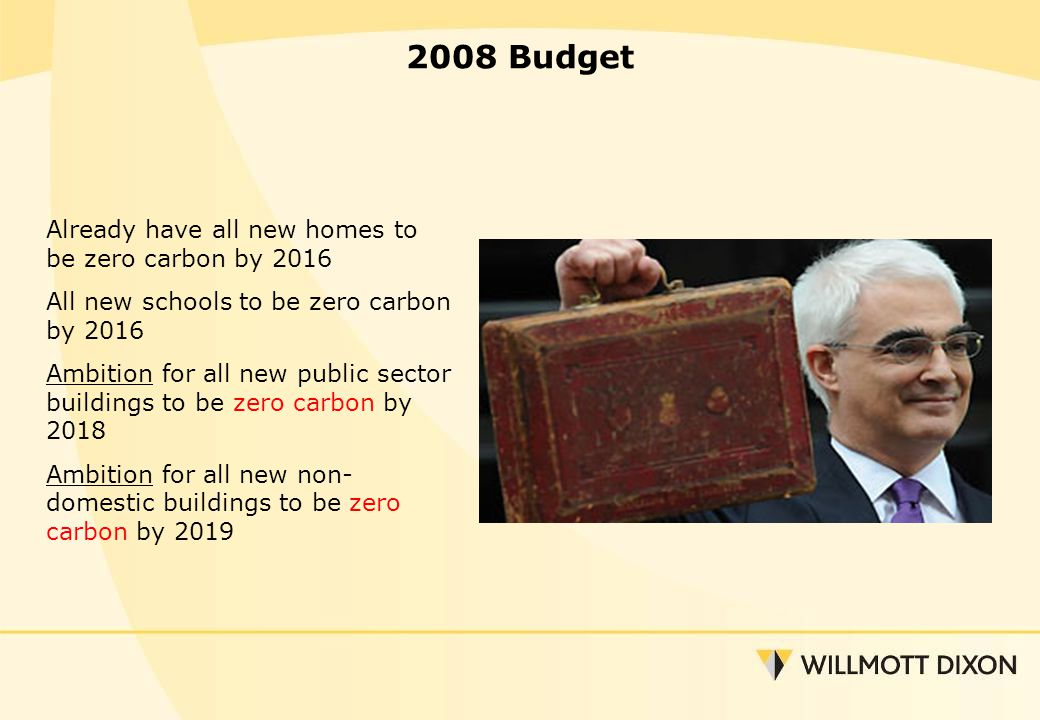 2008 Budget Already have all new homes to be zero carbon by 2016 All new schools to be zero carbon by 2016 Ambition for all new public sector buildings to be zero carbon by 2018 Ambition for all new non- domestic buildings to be zero carbon by 2019