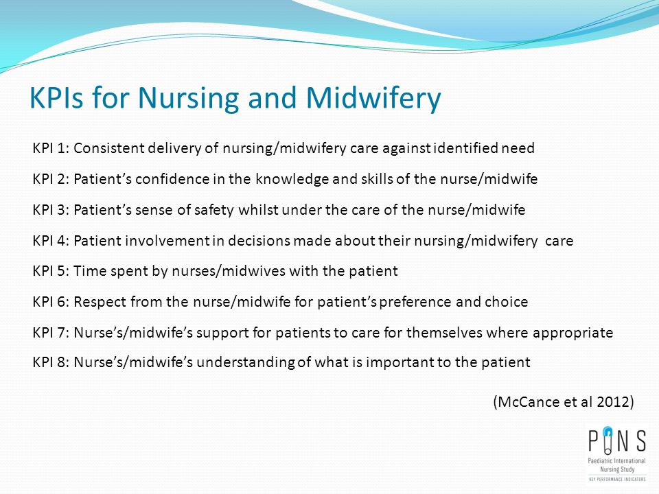 KPIs for Nursing and Midwifery KPI 1: Consistent delivery of nursing/midwifery care against identified need KPI 2: Patient's confidence in the knowledge and skills of the nurse/midwife KPI 3: Patient's sense of safety whilst under the care of the nurse/midwife KPI 4: Patient involvement in decisions made about their nursing/midwifery care KPI 5: Time spent by nurses/midwives with the patient KPI 6: Respect from the nurse/midwife for patient's preference and choice KPI 7: Nurse's/midwife's support for patients to care for themselves where appropriate KPI 8: Nurse's/midwife's understanding of what is important to the patient (McCance et al 2012)