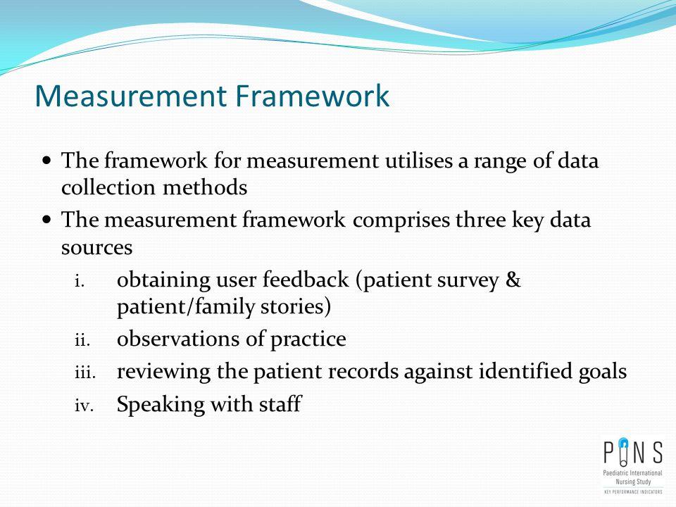 Measurement Framework The framework for measurement utilises a range of data collection methods The measurement framework comprises three key data sou