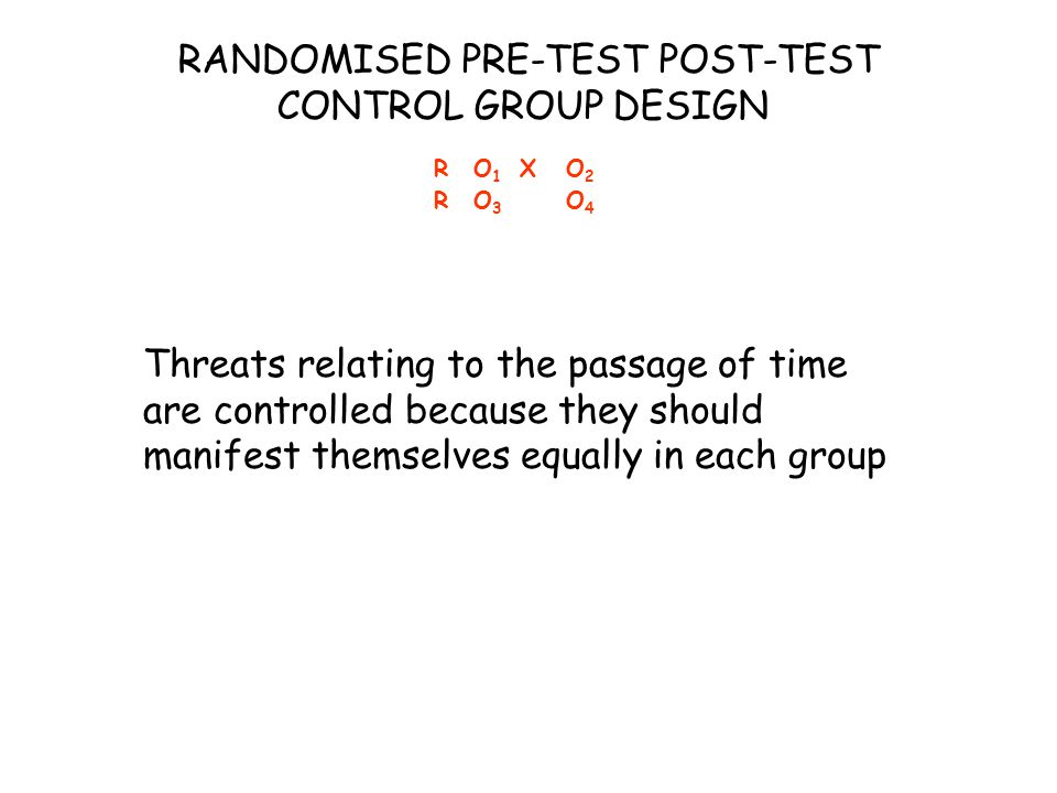 Threats relating to the passage of time are controlled because they should manifest themselves equally in each group RO1XO2RO3O4RO1XO2RO3O4 RANDOMISED PRE-TEST POST-TEST CONTROL GROUP DESIGN