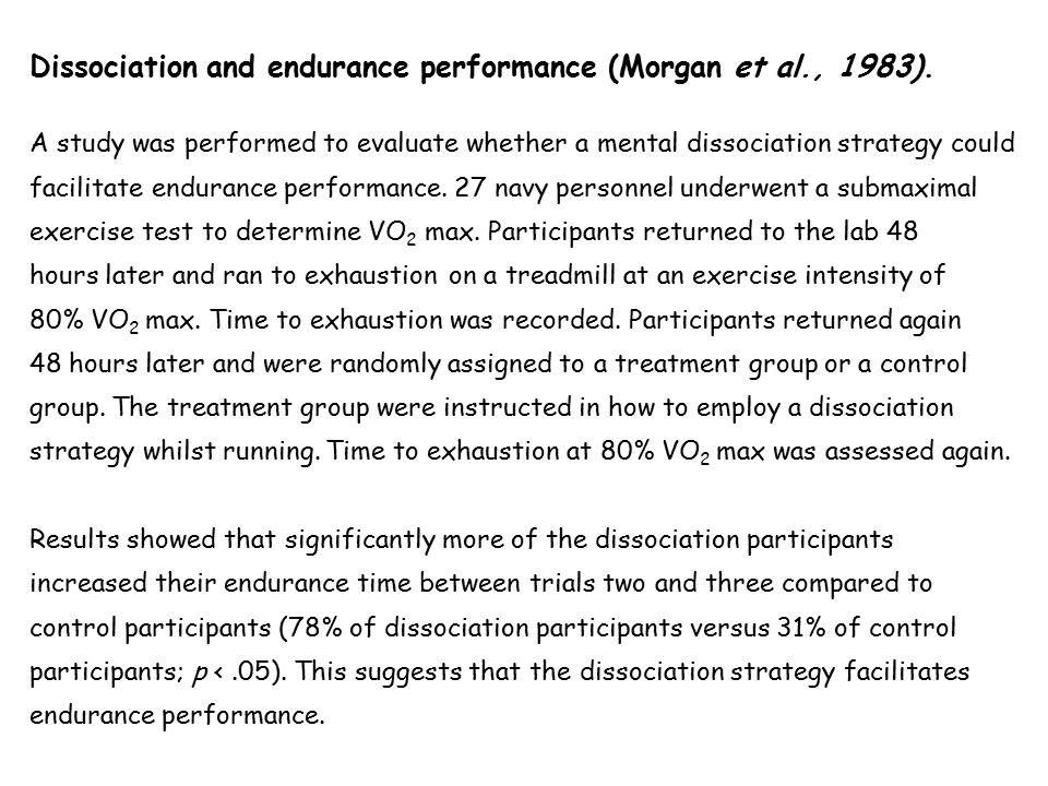 Dissociation and endurance performance (Morgan et al., 1983).