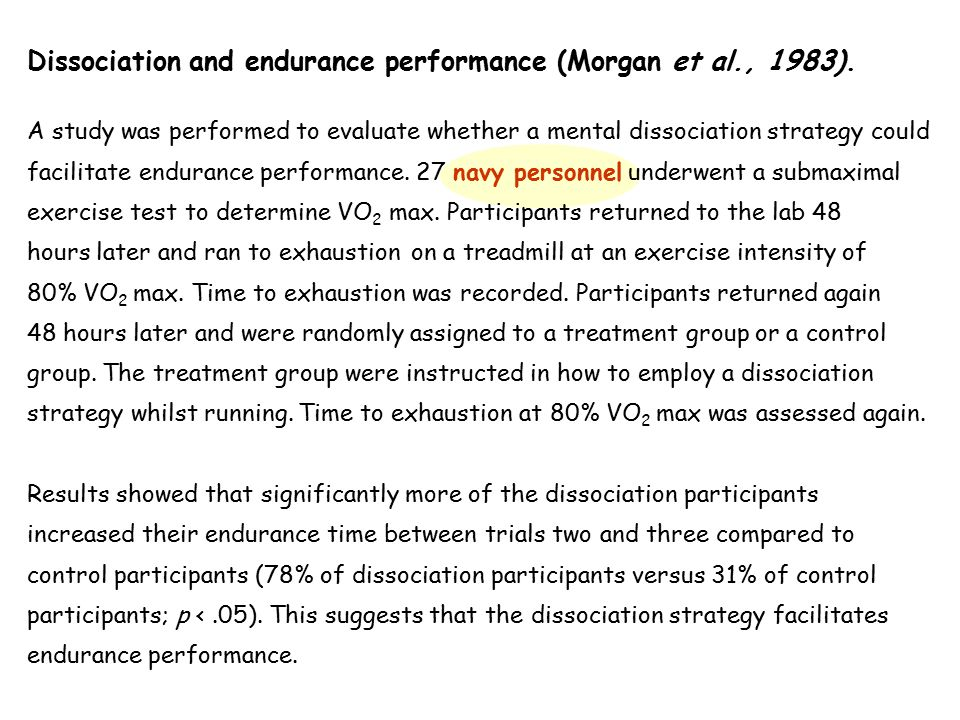 Dissociation and endurance performance (Morgan et al., 1983). A study was performed to evaluate whether a mental dissociation strategy could facilitat