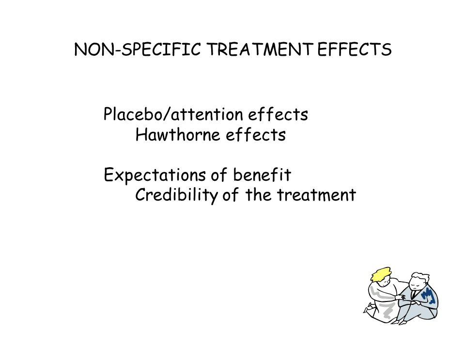 Placebo/attention effects Hawthorne effects Expectations of benefit Credibility of the treatment NON-SPECIFIC TREATMENT EFFECTS