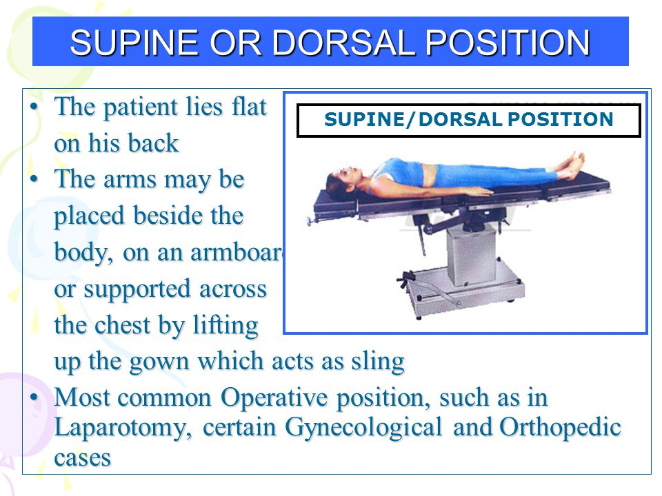 The patient lies flatThe patient lies flat on his back The arms may beThe arms may be placed beside the body, on an armboard or supported across the c