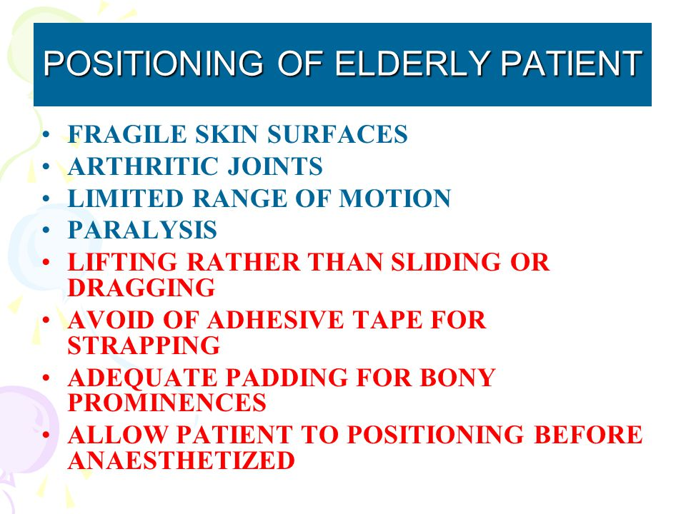 POSITIONING OF ELDERLY PATIENT FRAGILE SKIN SURFACES ARTHRITIC JOINTS LIMITED RANGE OF MOTION PARALYSIS LIFTING RATHER THAN SLIDING OR DRAGGING AVOID