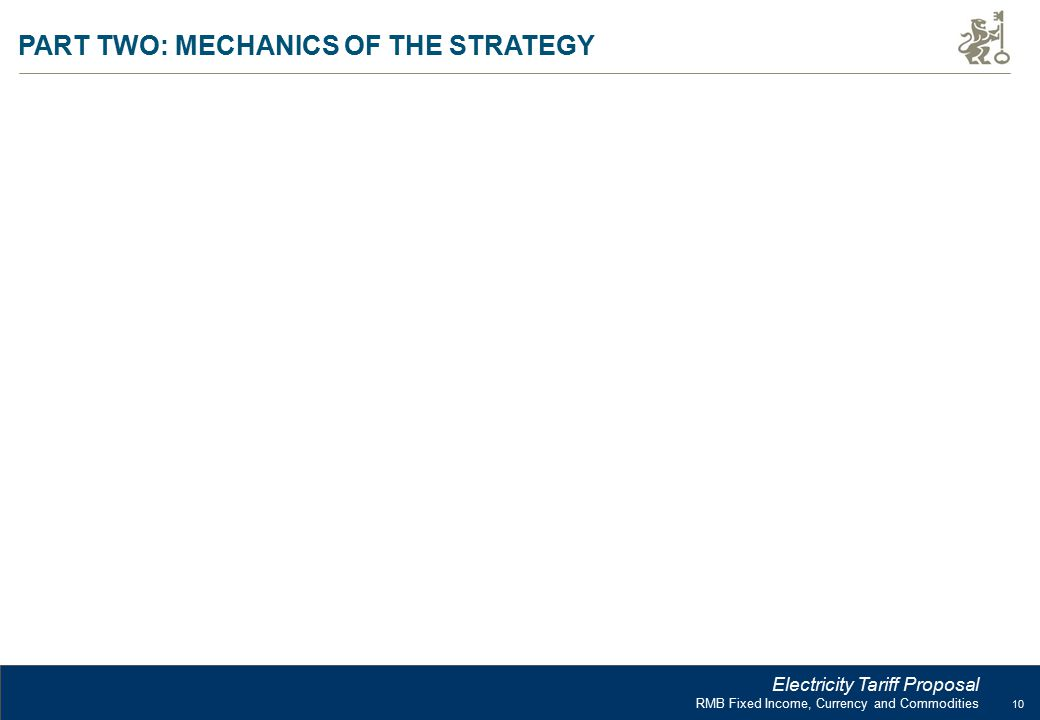 10 RMB Fixed Income, Currency and Commodities Electricity Tariff Proposal PART TWO: MECHANICS OF THE STRATEGY