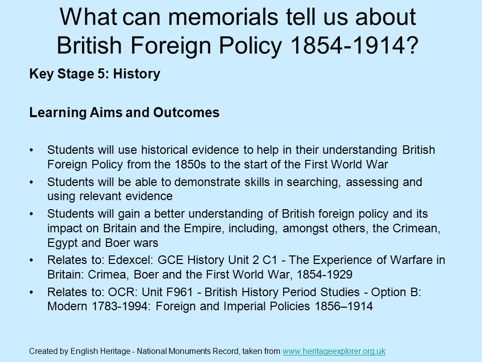 What can memorials tell us about British Foreign Policy 1854-1914.