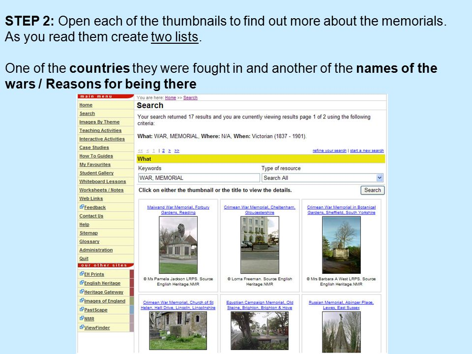 STEP 2: Open each of the thumbnails to find out more about the memorials.