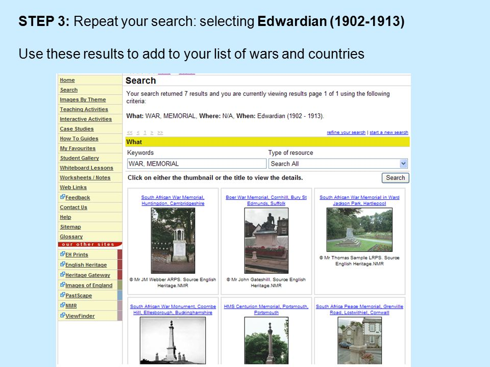STEP 3: Repeat your search: selecting Edwardian (1902-1913) Use these results to add to your list of wars and countries