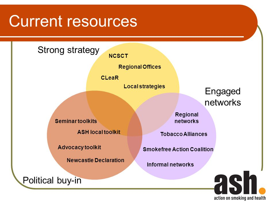 Current resources Strong strategy Political buy-in Engaged networks Smokefree Action Coalition Regional networks Newcastle Declaration CLeaR Regional