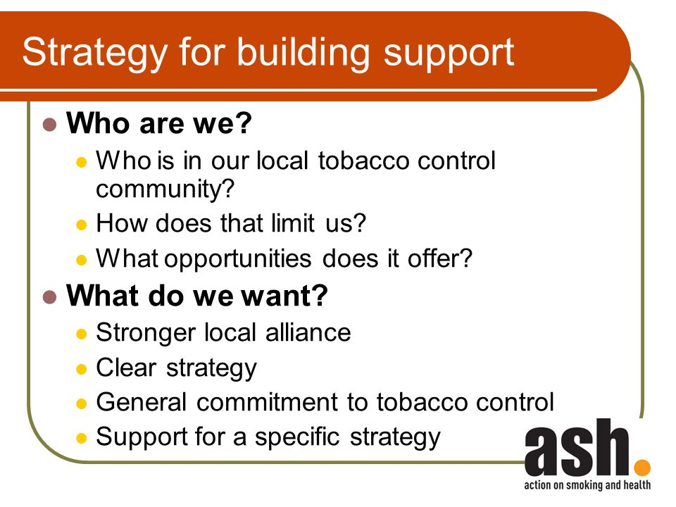 Strategy for building support Who are we. Who is in our local tobacco control community.