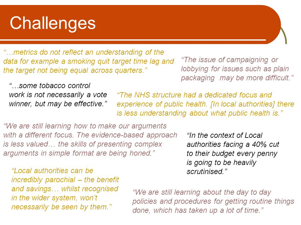 "Challenges ""The issue of campaigning or lobbying for issues such as plain packaging may be more difficult."" ""…some tobacco control work is not necessa"