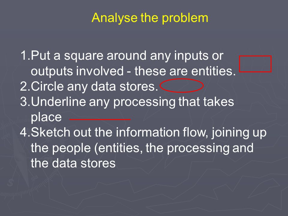 1.Put a square around any inputs or outputs involved - these are entities. 2.Circle any data stores. 3.Underline any processing that takes place 4.Ske