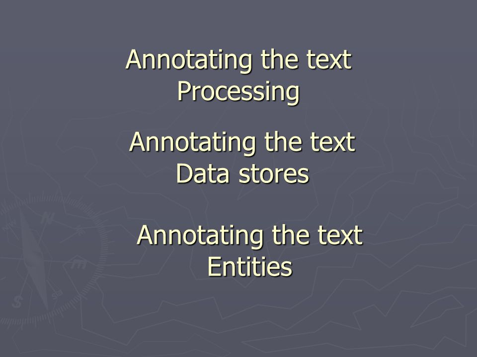 Annotating the text Processing Annotating the text Data stores Annotating the text Entities