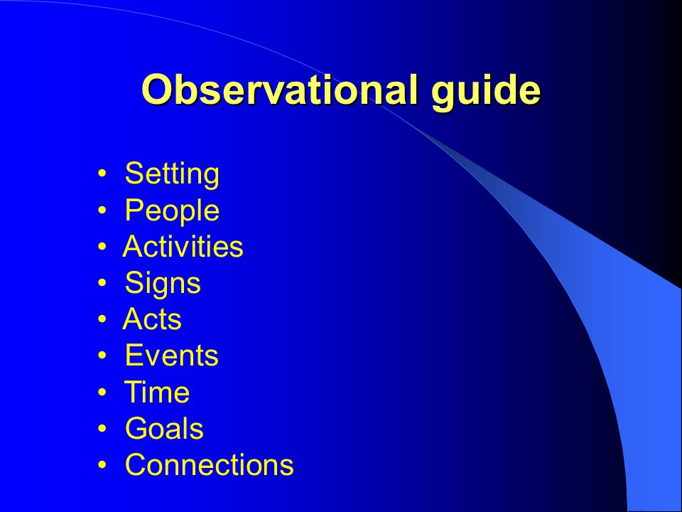 Observational guide Setting People Activities Signs Acts Events Time Goals Connections