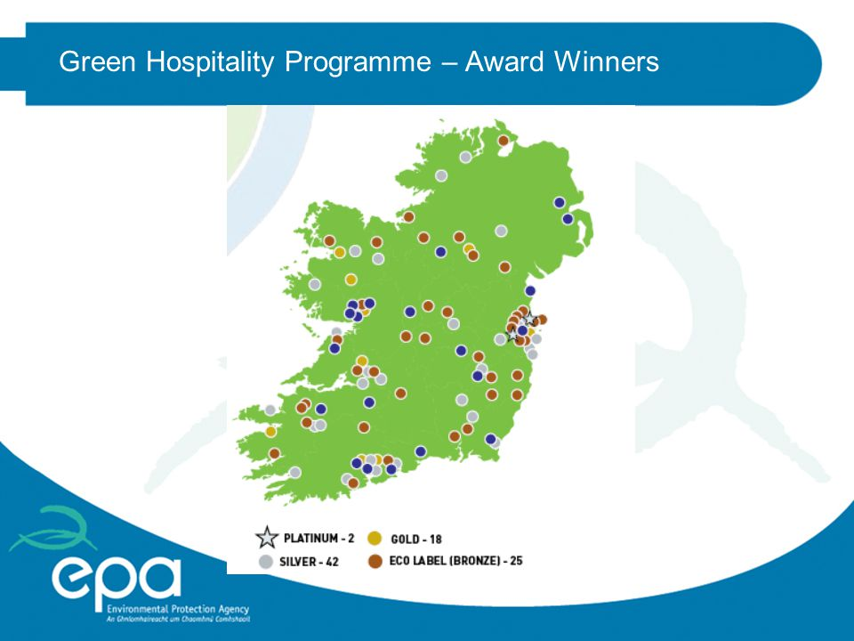 Green Hospitality Award nOver 125 hotels, including most chains (c.30% of Irish bedstock) nRadisson Blu adopted the scheme as its own Environmental Standard nBenefits of project 2009 included: (c.