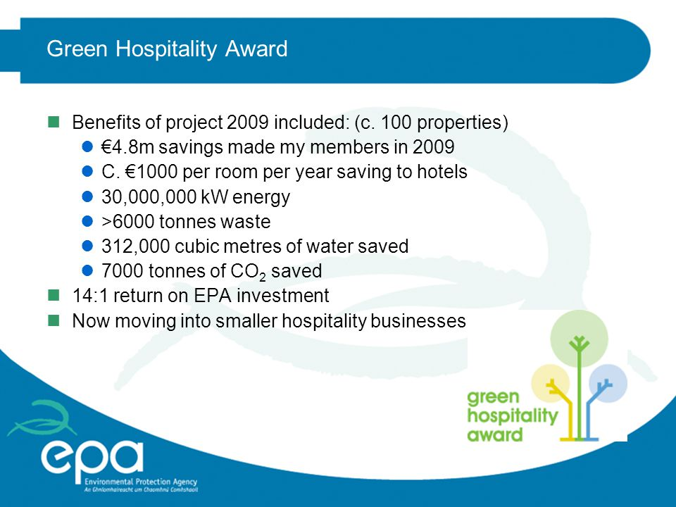 Green Hospitality Award n203 members to date, target of 220 for 2010 n138 hotels, including most chains (c.30% of Irish bedstock) nRadisson Blu adopted the scheme as its own Environmental Standard n27 Contract caterers (including Campbells (Aramark) and Sodexho) lIncluding Ebay, Dell, Paypal, Bord Gais contract catering n18 Bed and Breakfasts n20 others lGolf clubs, hostels, attractions etc.