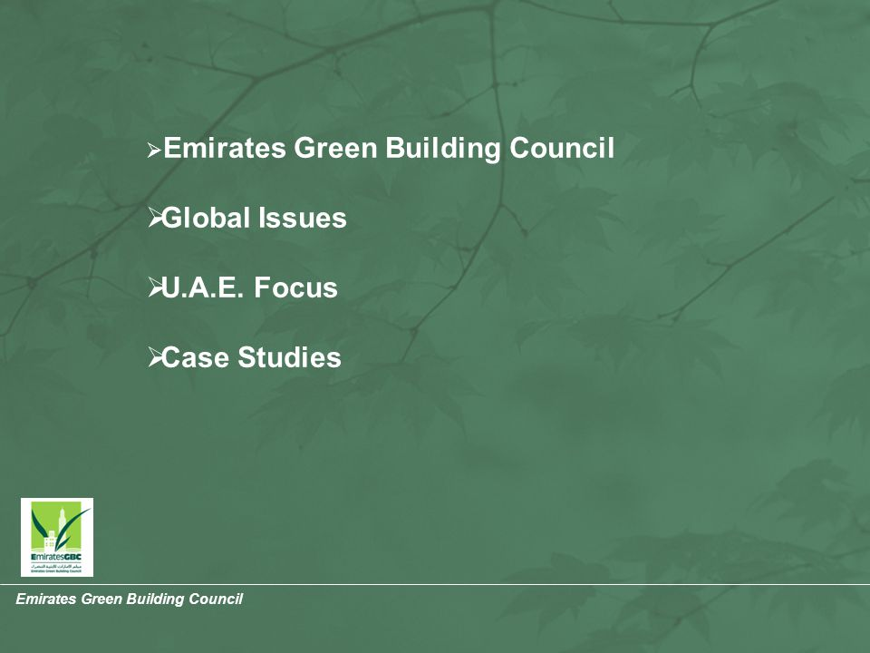 Emirates Green Building Council  Emirates Green Building Council  Global Issues  U.A.E.