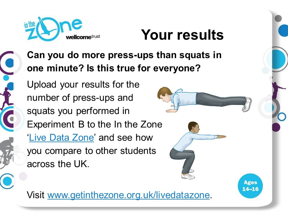 Can you do more press-ups than squats in one minute? Is this true for everyone? Upload your results for the number of press-ups and squats you perform