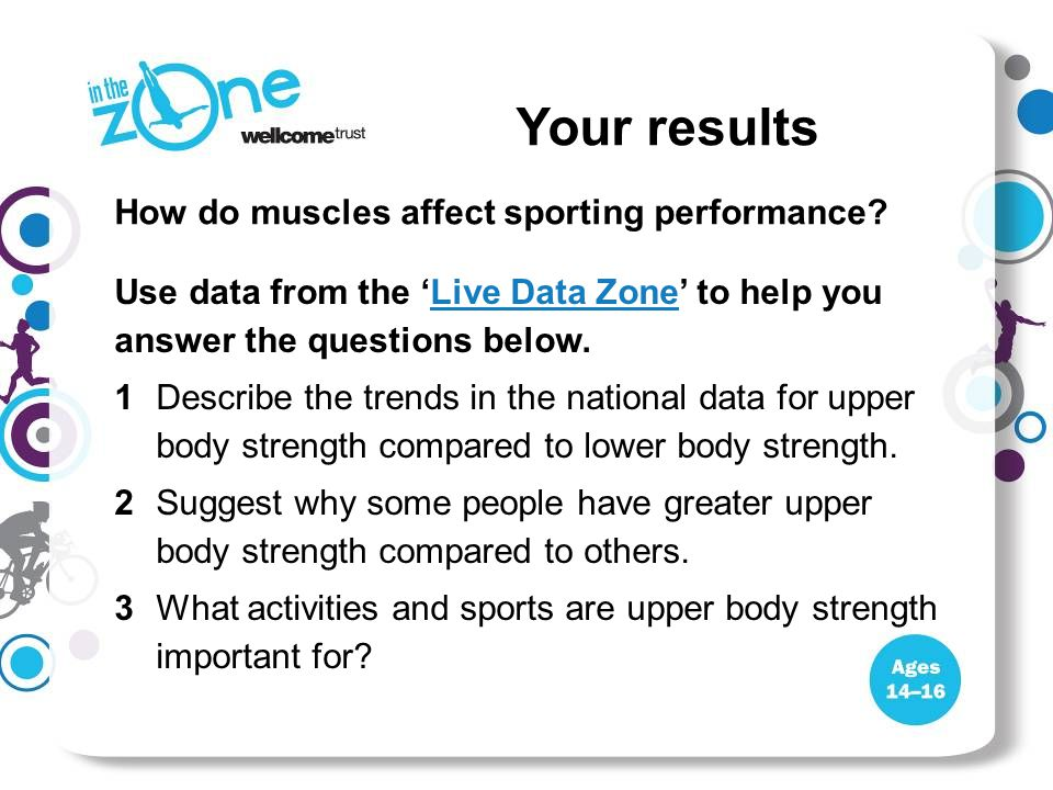 Use data from the 'Live Data Zone' to help you answer the questions below.Live Data Zone 1Describe the trends in the national data for upper body strength compared to lower body strength.