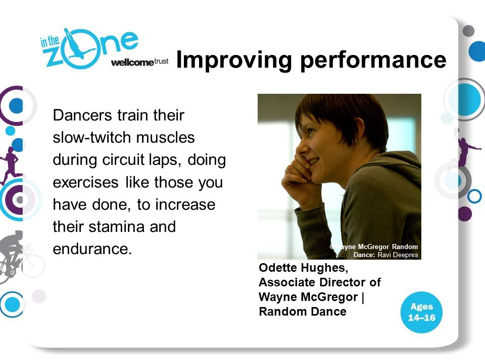 Dancers train their slow-twitch muscles during circuit laps, doing exercises like those you have done, to increase their stamina and endurance. Improv