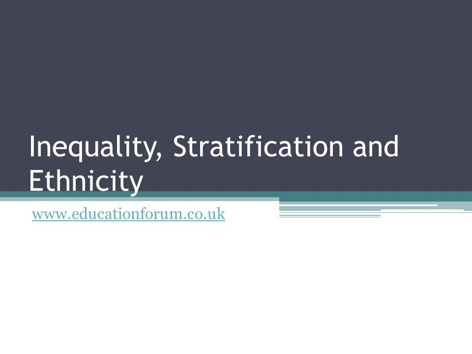 Inequality, Stratification and Ethnicity www.educationforum.co.uk